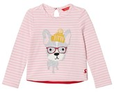 Joules Pink Stripe Hipster Dog Applique Tee
