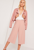 Missguided Circular Ring Zip Detail Culottes Pink