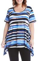 Karen Kane Plus Size Women's Painted Stripe Handkerchief Top