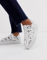 Asos Design DESIGN Day Light chunky flatform logo sneakers in white