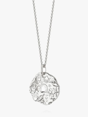 Fossil Daisy London Isla Round Pendant Necklace, Silver