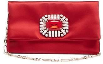 Jimmy Choo Titania Crystal-embellished Satin Clutch - Womens - Red