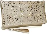 BMC Womens Silver Perforated Cut Out Gold Accent Foldover Fashion Clutch Handbag