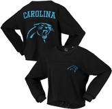 G Iii Women's G-III 4Her by Carl Banks Black Carolina Panthers Flight Song Crop Long Sleeve T-Shirt