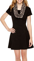 My Michelle Short-Sleeve Knit Fit-and-Flare Dress with Scarf- Juniors