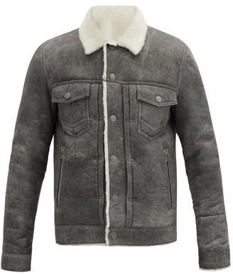 Balmain Shearling Overshirt Jacket - Grey