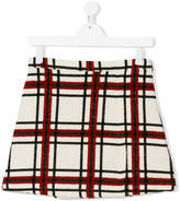 MSGM Teen checked bouclé a-line skirt