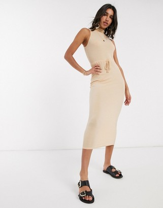 ASOS DESIGN high neck ribbed midi dress with drawstring in oatmeal marl