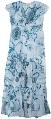 Roberto Cavalli White Printed Tiered Maxi Dress 14 Yrs