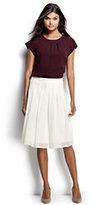 Classic Women's Pleated Eyelet A-line Skirt-Crisp Burgundy Multi Stripe