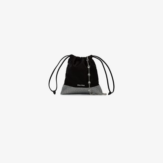 Miu Miu Black Ayers crystal studded shoulder bag