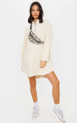 No Name Noname Cream Borg Zip Neck Hoodie Oversized Jumper Dress