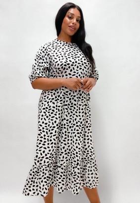 Missguided Plus Size White Dalmatian Print Ruffle Hem Midi Smock Dress