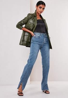 Missguided Blue Highwaisted Long Split Hem Jeans