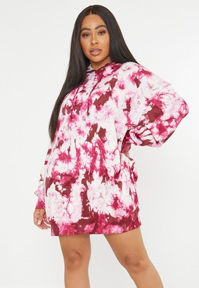 Missguided Plus Size Raspberry Tie Dye Hoodie Dress