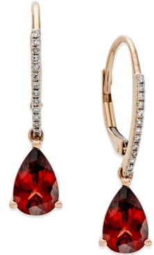 Macy's Garnet (2-1/2 ct. t.w.) and Diamond Accent Drop Earrings in 14k Rose Gold