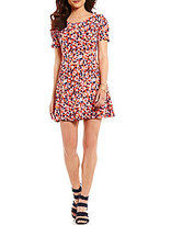 Copper Key Puffed-Sleeve Floral-Print Pleated Skater Dress