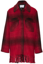 Alexander Wang Fringed Checked Flannel Coat - Red