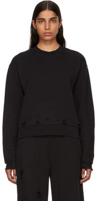 Alexander Wang Black Distressed French Terry Sweatshirt