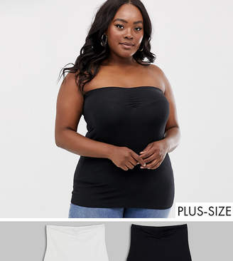 New Look Plus Curve 2 pack boob tube in black and white-Multi