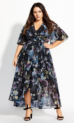 City Chic Shadow Floral Maxi Dress - navy