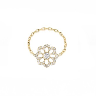 Noush 14ct Yellow Gold Fleur Du Ciel Chain Ring