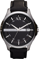 Armani Exchange Ax2101 Date Leather Strap Watch, Black
