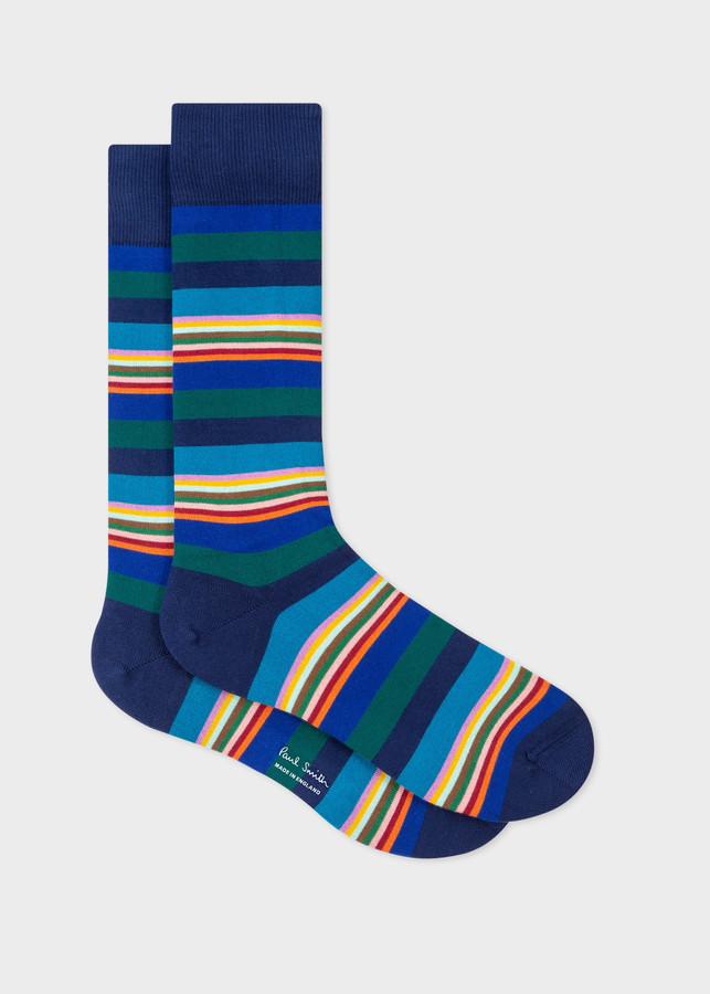 Paul Smith Men's Blue Tonal And Multi-Stripe Socks