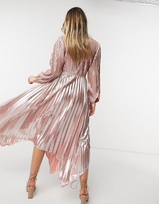 Forever U pleated metallic dress with cut out detail in rose gold