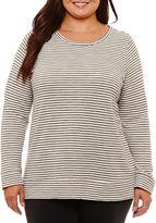 Liz Claiborne Long Sleeve Crew Neck Stripe T-Shirt-Womens Plus