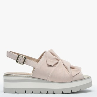 Luca Grossi Jerash Nude Suede Knotted Bow Sling Back Sandals