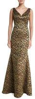 Carmen Marc Valvo Sleeveless V-Neck Scroll Lace Gown