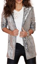 HaoDuoYi Womens Casual Sequins Pocket Side Coat Jacket(M,)