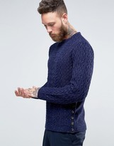 Asos Cable Knit Sweater with Button Side Seam