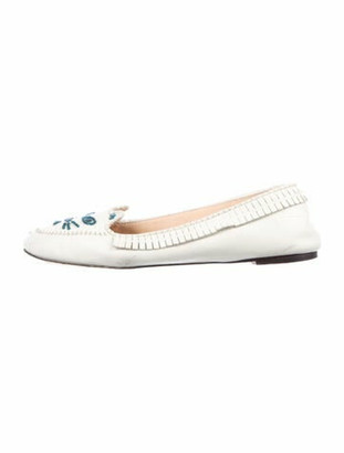 Charlotte Olympia Leather Embroidered Accent Flats White