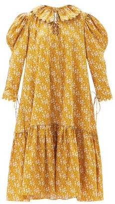 Horror Vacui Elena Scalloped Floral-print Cotton Dress - Light Brown