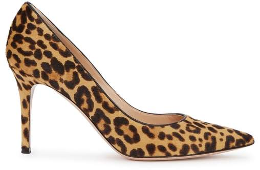 Gianvito Rossi Gianvito 85 Leopard-print Calf Hair Pumps