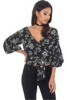 AX Paris Black Floral Tie Bell Sleeved Top