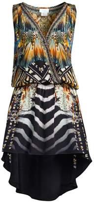 Camilla Mother Multi-Print Surplice Sleeveless Silk High-Low Dress