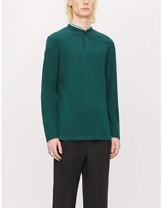 The Kooples Sport Crest cotton-piqué polo long-sleeved top