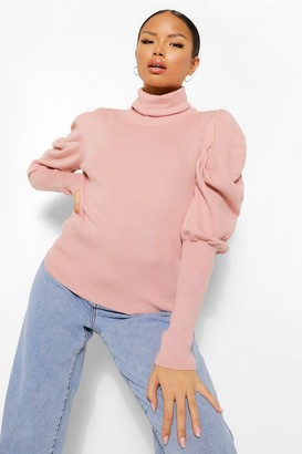 boohoo Petite Puff Sleeve Roll Neck Jumper