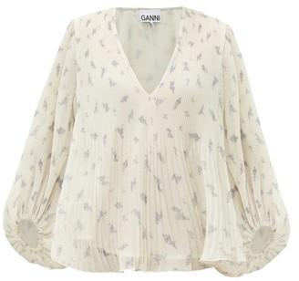 Ganni Floral-print Plisse Georgette Blouse - Cream