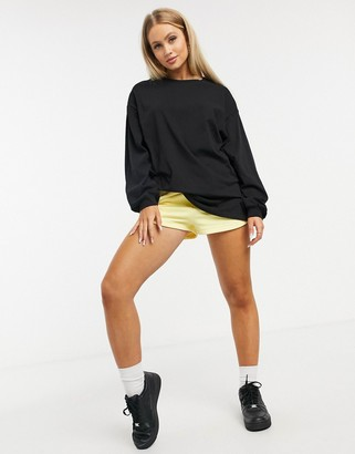 ASOS DESIGN oversized long sleeve t-shirt with cuff detail in black