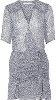Veronica Beard Dakota Ruched Printed Silk Chiffon Mini Dress - Light blue