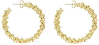 Ettika Gold Tone Abstract Textured Hoop Earrings