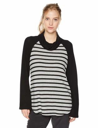 Michael Stars Women's Madison Brushed Stripe Colorblock Long Sleeve Cowl Neck