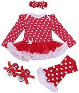 Happy Cherry Newborn Baby Girls Polka Dot Tutu Romper with Headband Dress 4Pcs Outfit