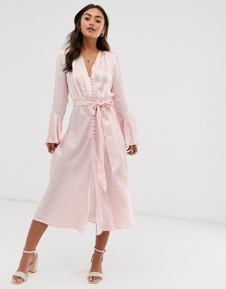 Ghost annabelle satin button front midi dress in daisy print-Pink