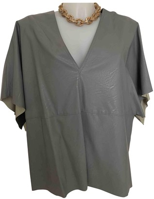 Maison Margiela Grey Leather Top for Women
