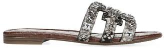 Sam Edelman Bay Flat Crystal-Embellished Snakeskin-Embossed Sandals